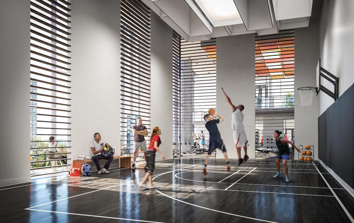 Interior rendering of Wesley Tower's gym / fitness centre.