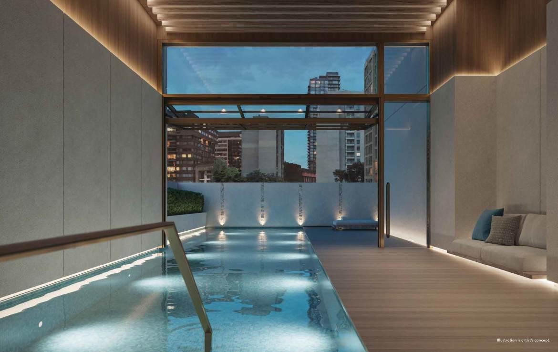 Rendering of 50 Scollard Yorkville Condos indoor swimming pool