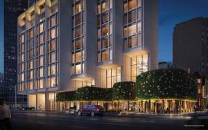 Rendering of 50 Scollard Yorkville Condos building side with street area at night.