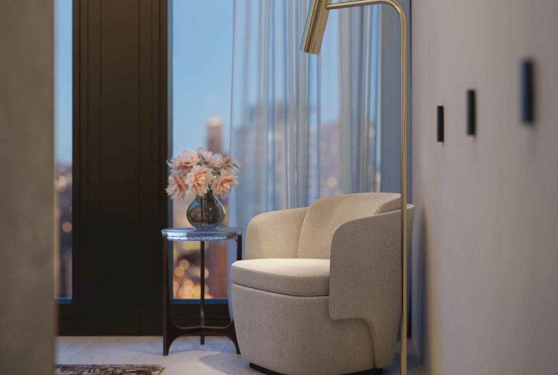 Rendering of 50 Scollard Yorkville Condos suite reading corner