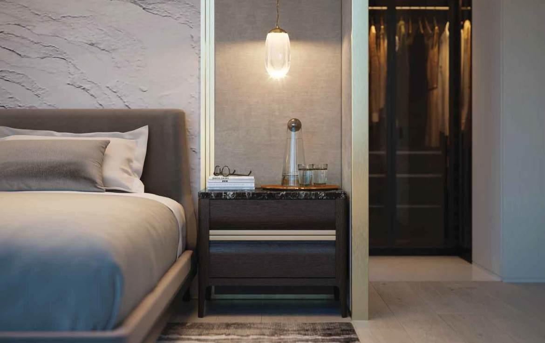 Rendering of 50 Scollard Yorkville Condos bedroom with walk-in closet.