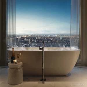 Rendering of 50 Scollard Yorkville Condos suite luxury bath by window.