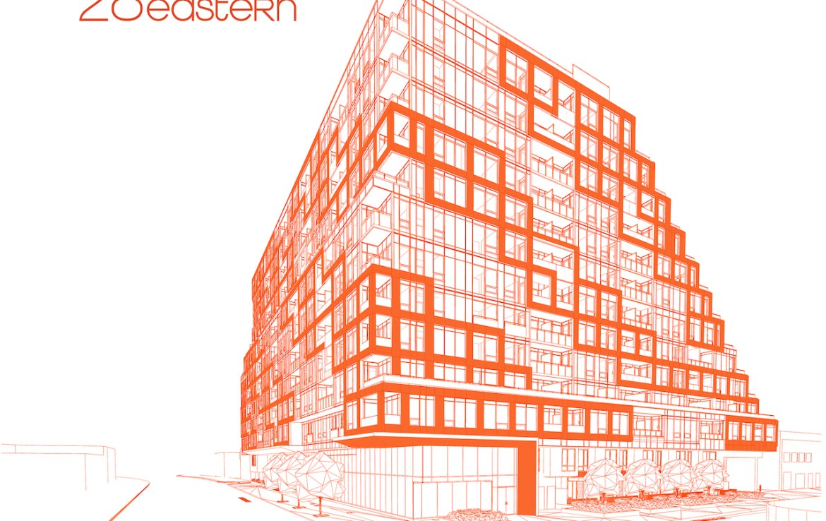 Orange-coloured drawing of 28 Eastern Condos with logo above.