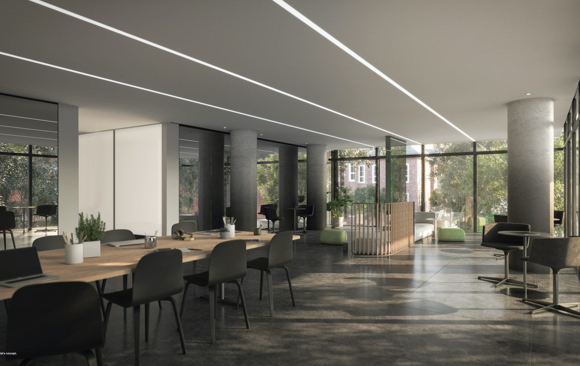 Rendering of 28 Eastern Condos co-working space.