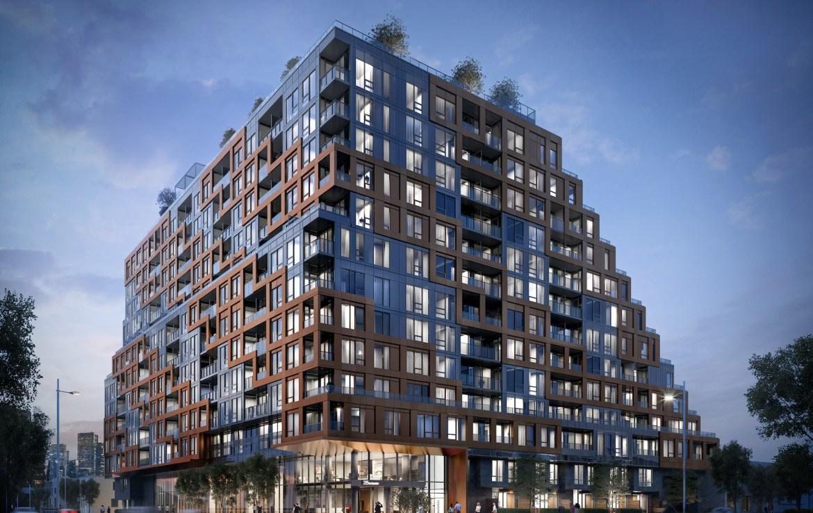 Rendering of 28 Eastern Condos full exterior at night.