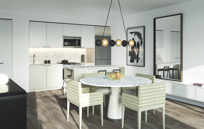 Rendering of Birchcliff Towns suit interior dining kitchen.