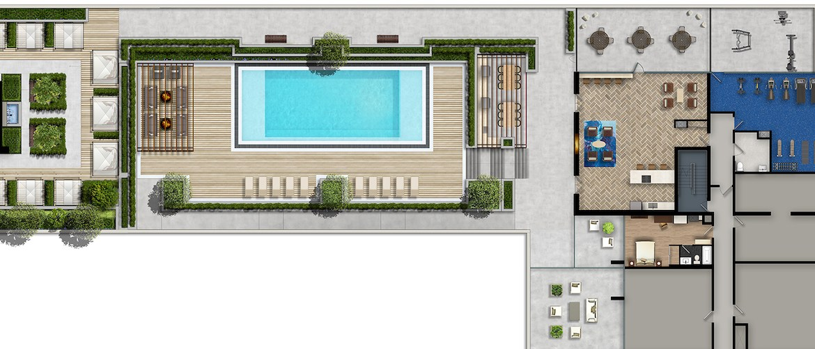 Amenities Map at the Residence at Five Points Condos
