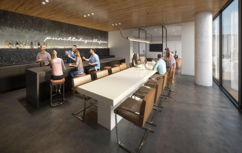 Party room rendering of XO Condos in Toronto.