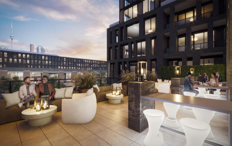 Terrace rendering of XO Condos in Toronto.