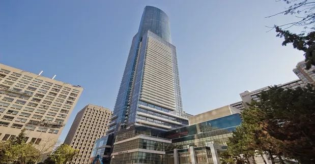 Exterior image of the Aura at College Park 1 in Toronto