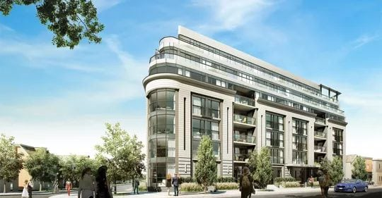 Exterior image of the Upper Beach Club Condos Hill in Toronto