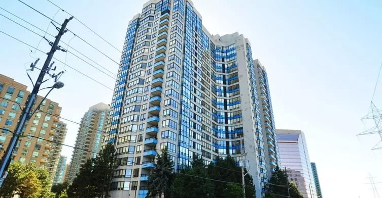 Exterior image of the Vogue Condominiums in Toronto
