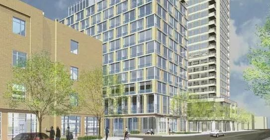 Exterior image of the Wellesley Central Residences in Toronto