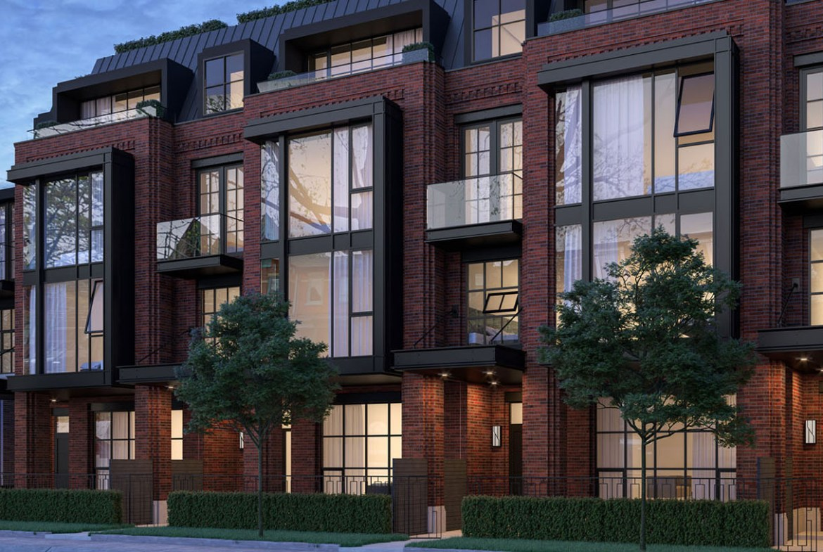 Exterior rendering of 36 Birch Condos and streetscape.