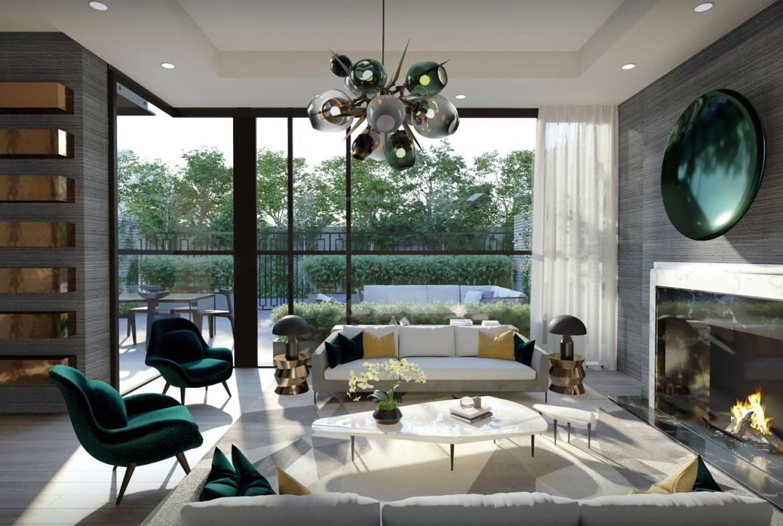 Interior rendering of 36 Birch Condos unit living room.