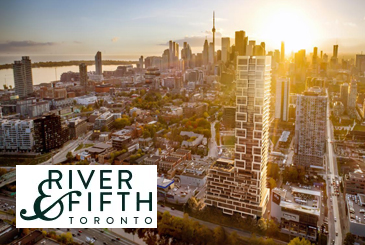 Rendering of River and Fifth Condos Exterior with Logo Overlay