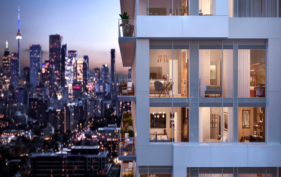 Rendering of River and Fifth Condos Exterior in the Evening