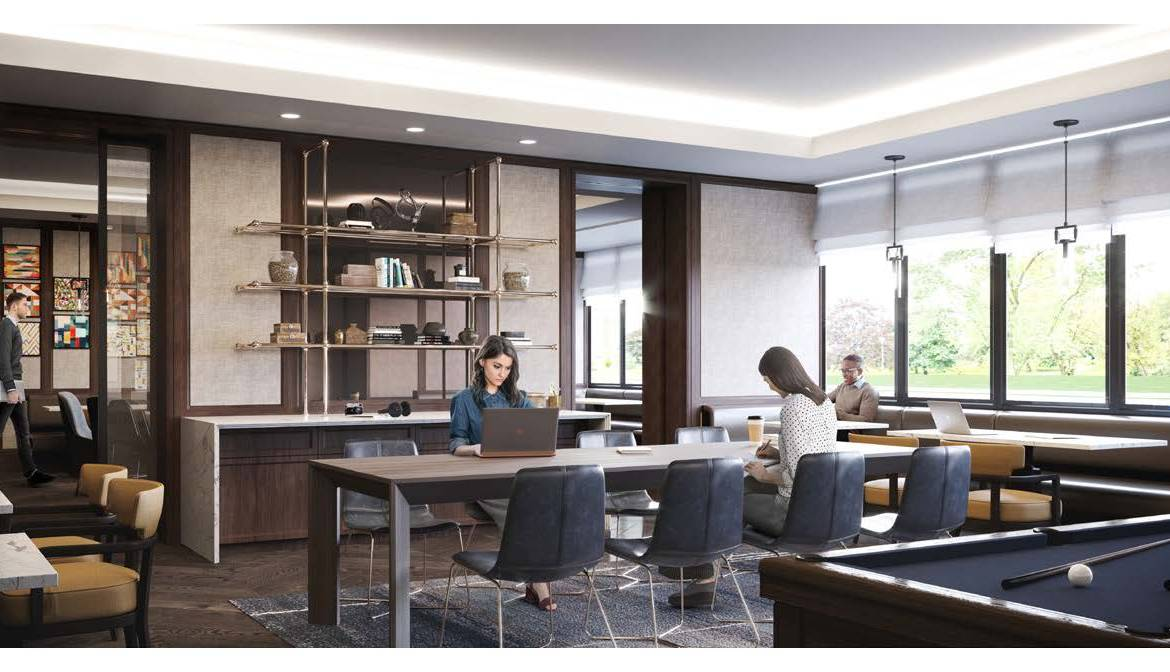 Rendering of Notting Hill Condos business lounge.
