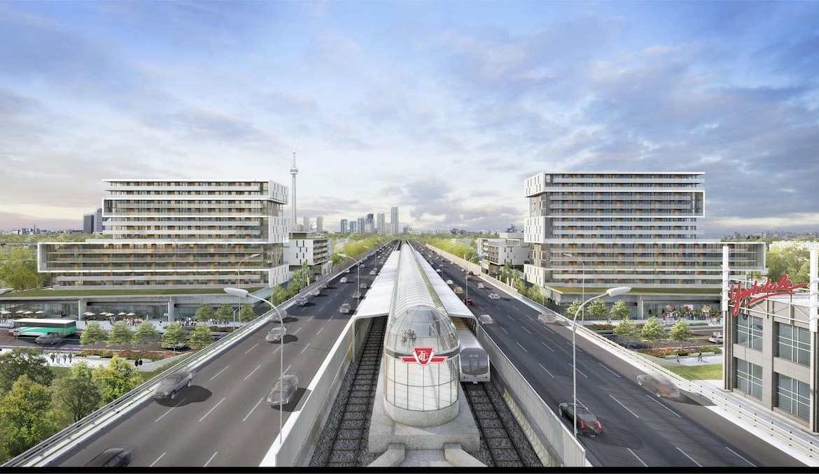 Exterior Rendering of The Yorkdale Condos and Transit
