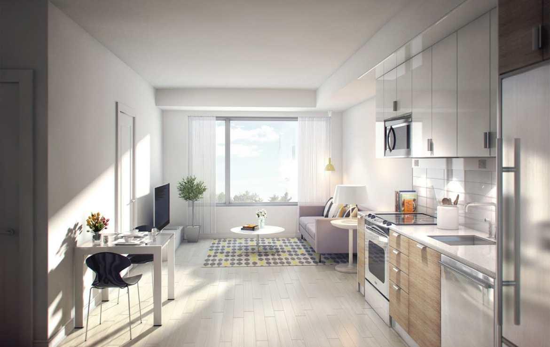 University Suites Condos Suite Kitchen and Living
