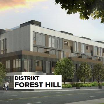 Distrikt Forest Hill Condos Building Exterior with Logo Overlay