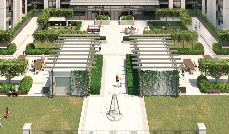 Exterior Rendering of Eight Cedarland Condos Courtyard