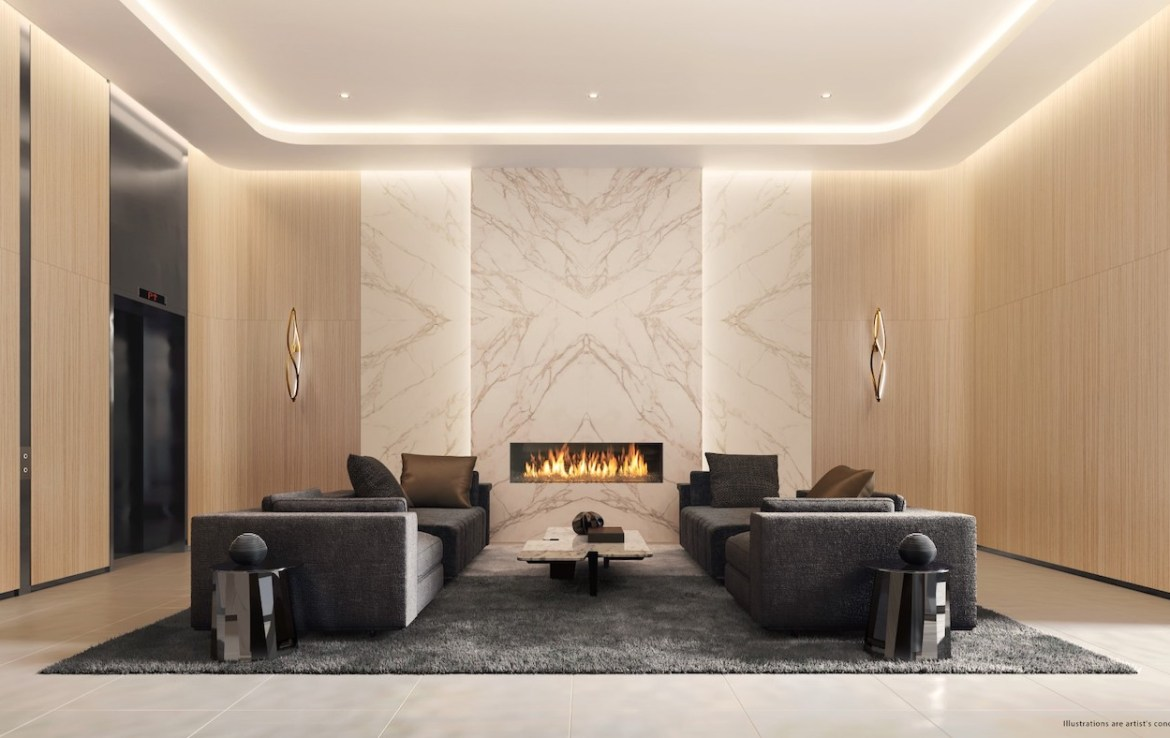 Lobby Rendering of St. Clair Village Condos