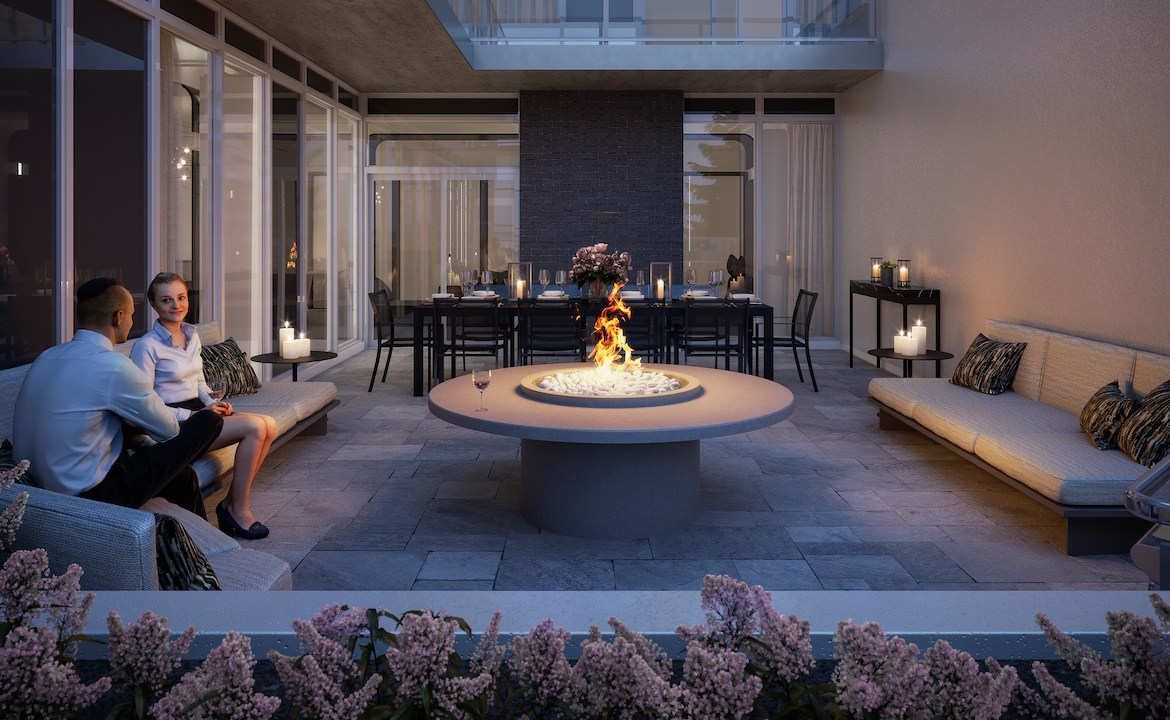 Rendering of The Dylan Condos north outdoor terrace.