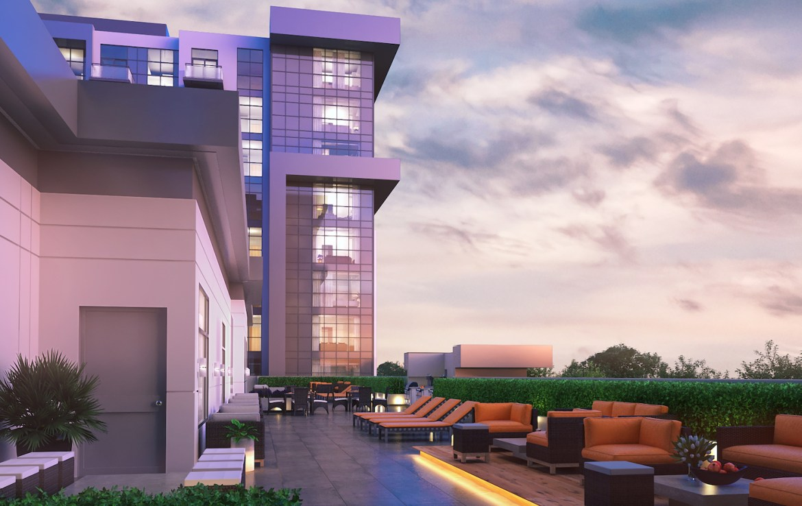 Exterior Terrace Rendering of Trend Living Condos