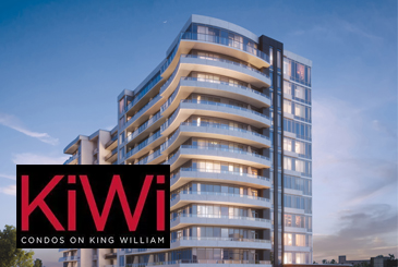 Rendering of KiWi Condos Hamilton with Logo Overlay