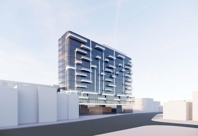 Full-view Exterior Rendering of Anx Condos Toronto
