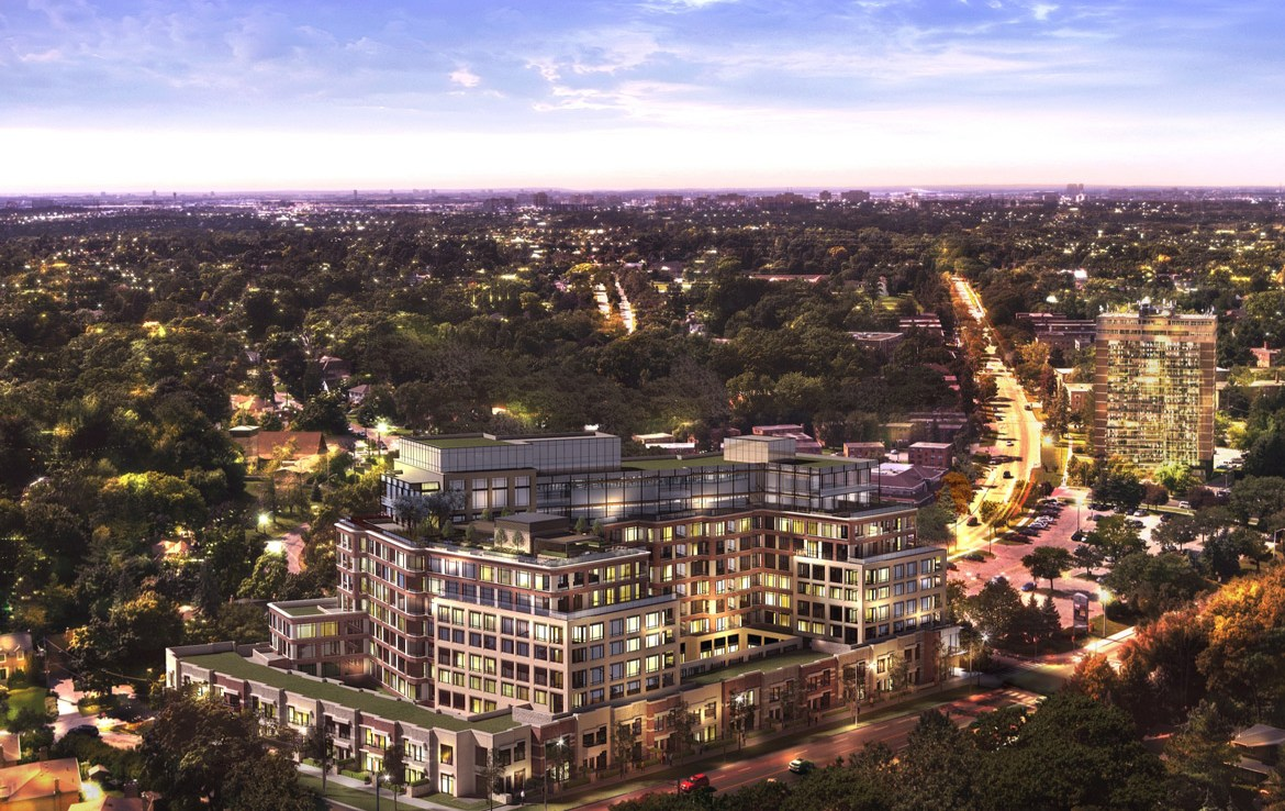 Dusk Aerial Rendering of Edenbridge Kingsway Condos