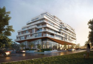 Exterior rendering of Kingsway Crescent Condos and Towns.