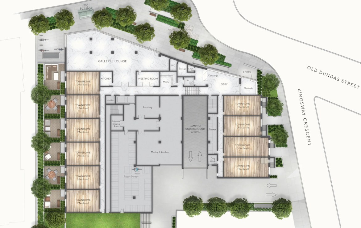 Site plan of Kingsway Crescent residences main level amenities and towns.