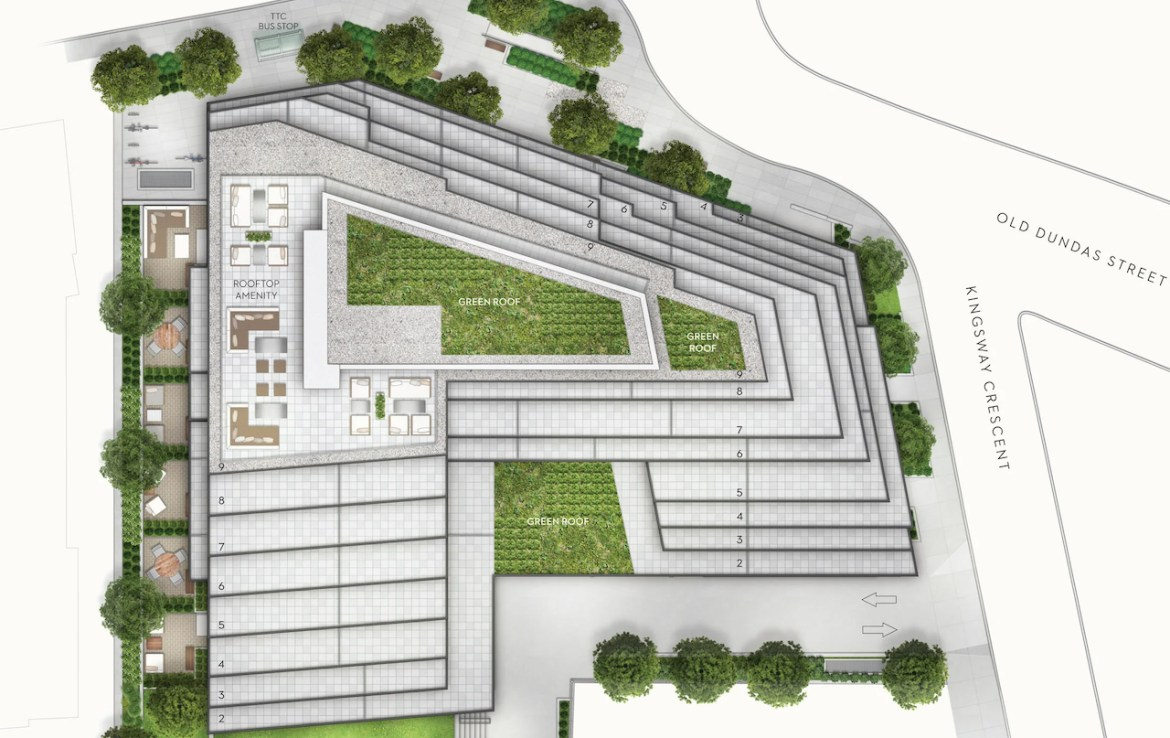 Site plan of Kingsway Crescent residences rooftop amenities and with green roofs.