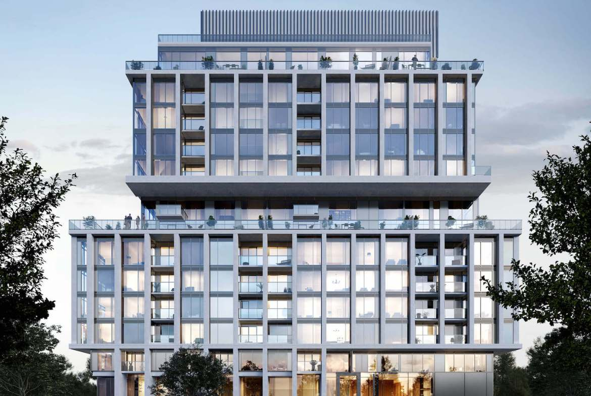 Full-view Exterior Rendering of Rise at Stride Condos
