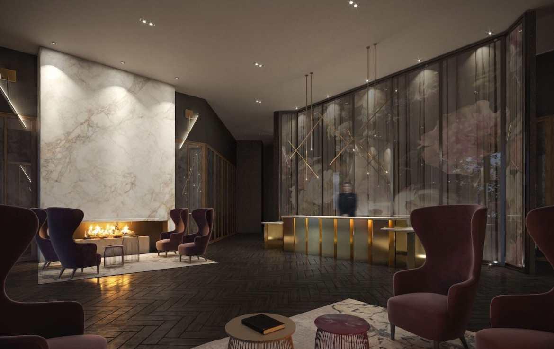 Lobby rendering of Distrikt Trailside condos.