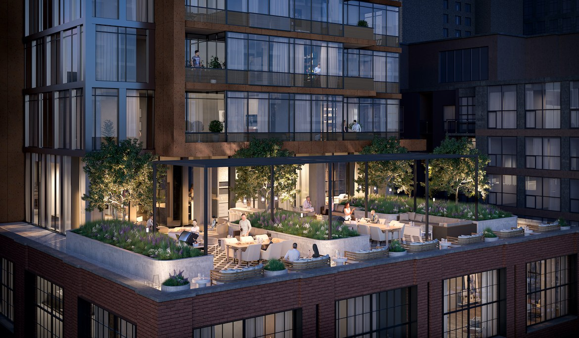 Rendering of 55 Mercer rooftop amenity.