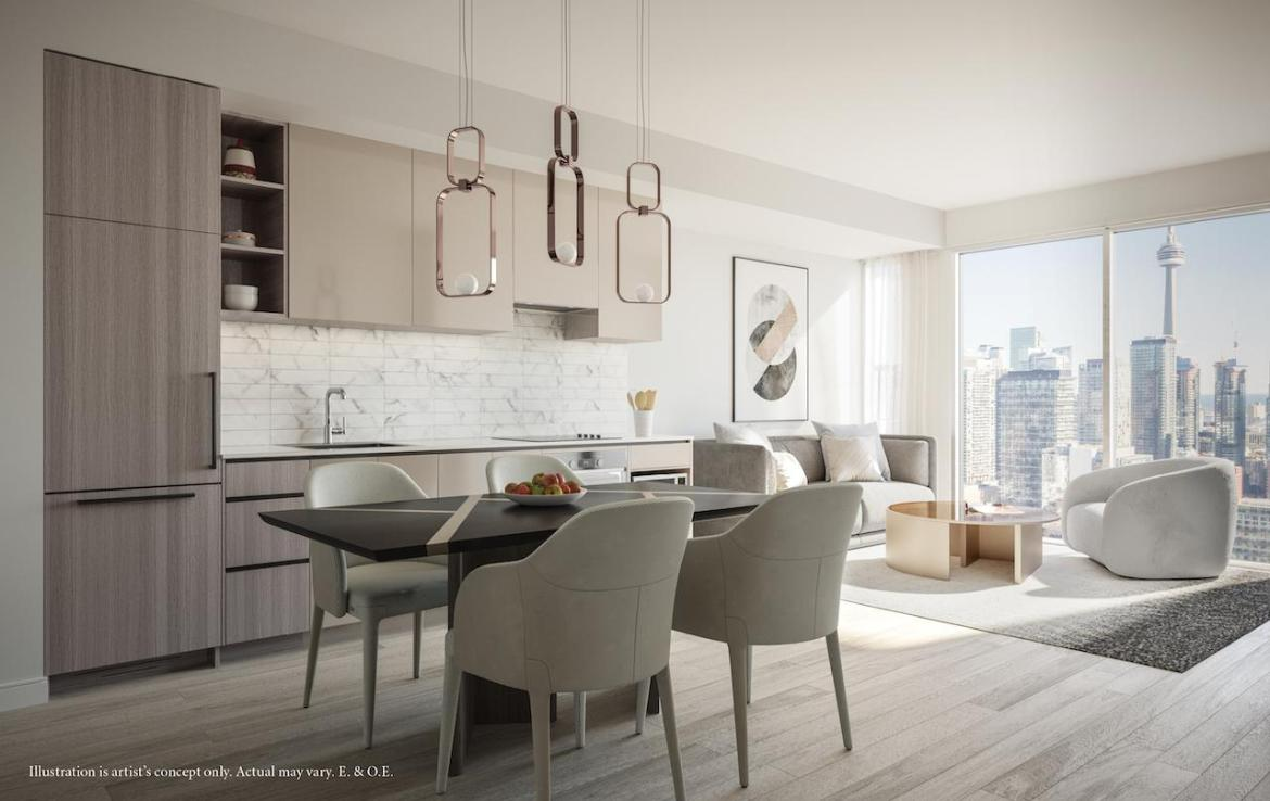 Rendering of 55 Mercer condos interior medium coloured cabinetry.