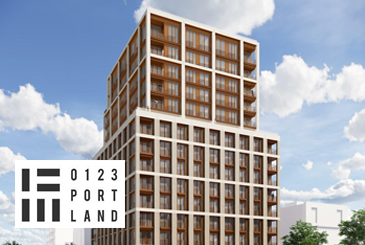 Rendering of 123 Portland Condos with black logo overlay.