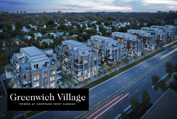 Rendering of Greenwich Village Towns with logo overlay.