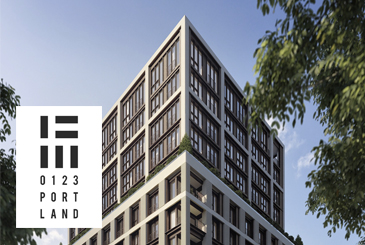 Exterior rendering of 123 Portland condos with logo overlay.