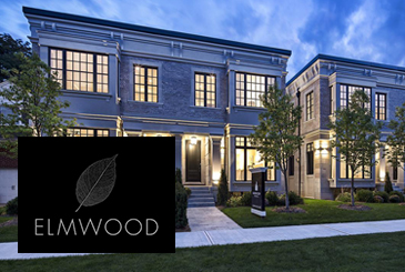 Exterior rendering for Elmwood Homes with logo overlay.