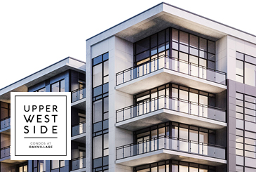 Exterior rendering of Upper West Side Condos at Oakvillage with logo overlay.