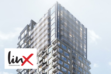 Rendering of Linx Condos with logo overlay.
