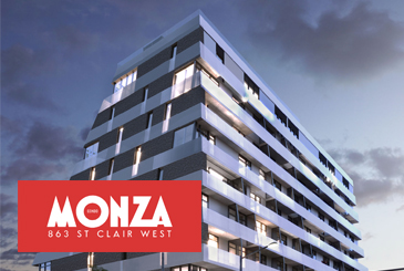 Rendering of Monza Condos in the evening with logo overlay.