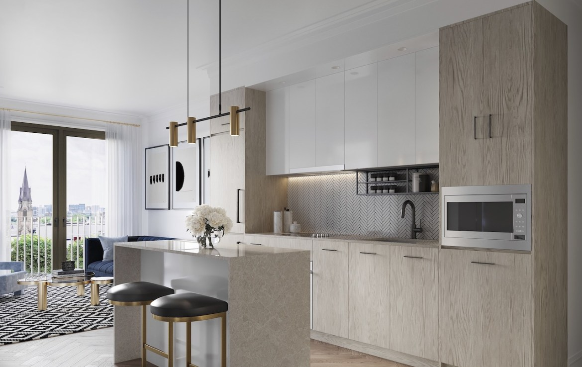 Interior rendering of 123 Portland condos suite kitchen.