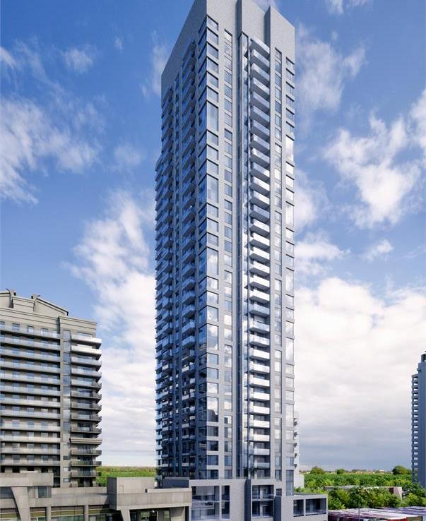 Exterior rendering of 5306 Yonge Street Condos during the day.