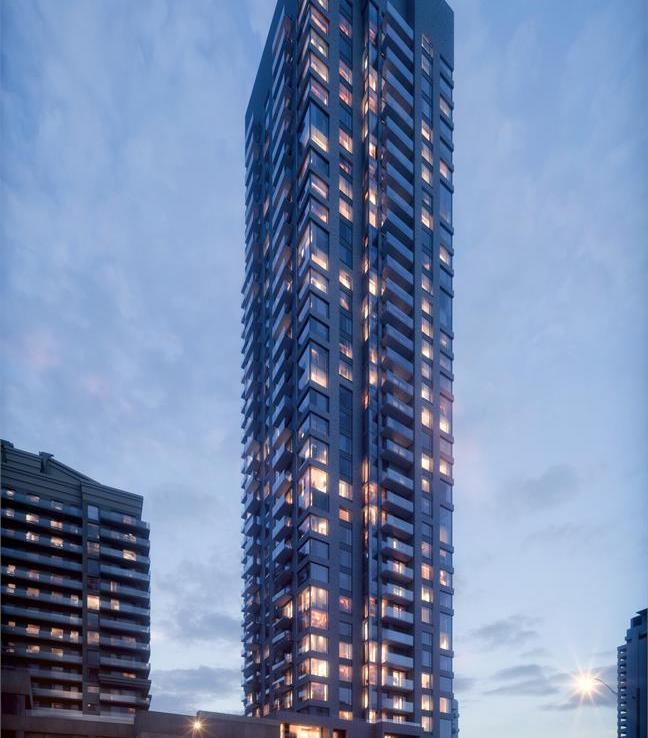 Exterior rendering of 5306 Yonge Street Condos in the evening.