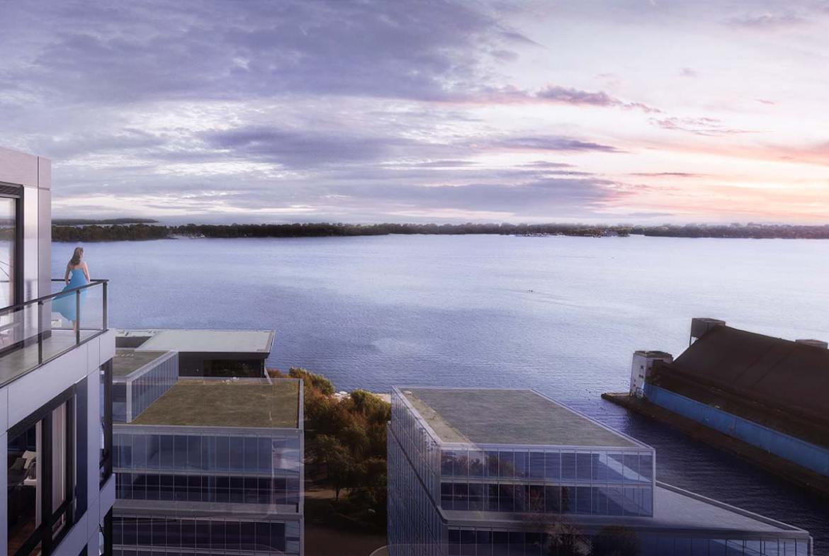 Rendering of Empire Quay House Condos suite terrace at dusk.